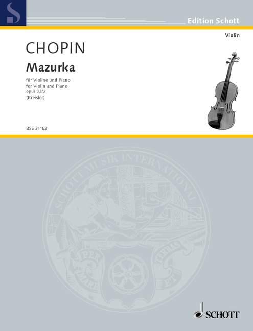 Mazurka op 33//2 Chopin Frédéric violin and piano 9790001107143